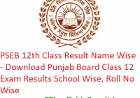 PSEB 12th Class Result 2019 Name Wise - Download Punjab Board Class 12 Exam Results School Wise, Roll No Wise