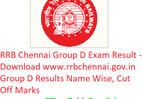 RRB Chennai Group D Result 2019 - Download rrbchennai.gov.in Group D Results Name Wise, CutOff
