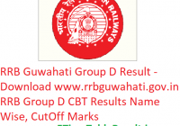 RRB Guwahati Group D Result 2019 - Download rrbguwahati.gov.in Group D CBT Exam Results Name Wise, CutOff Marks