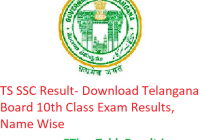 TS SSC Result 2019 - Download Telangana Board 10th Class Exam Results, Name Wise