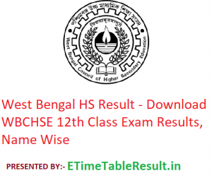 West Bengal HS Result 2019 - Download WBCHSE 12th Class Exam Results, Name Wise