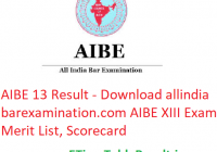 AIBE 13 Result 2019 - Download allindiabarexamination.com AIBE XIII Exam Merit List, Scorecard