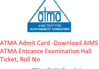 ATMA Admit Card 2019 - Download AIMS ATMA Entrance Exam Hall Ticket, Roll No