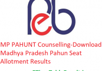 MP PAHUNT Counselling 2019 - Download Madhya Pradesh Pahun Seat Allotment Results