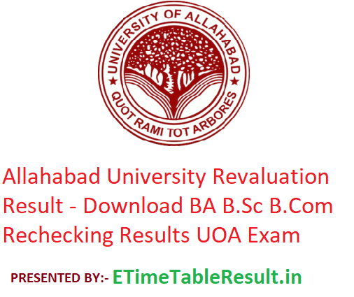 Allahabad University Revaluation Result 2019 - Download BA B.Sc B.Com Rechecking Results 1st-2nd-3rd Year UOA Exam