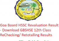 Goa Board HSSC Revaluation Result 2019 - Download GBSHSE 12th Class ReChecking/ Retotalling Results