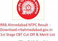 RRB Ahmedabad NTPC Result 2019 - Download rrbahmedabad.gov.in NTPC 1st Stage CBT Cut Off & Merit List