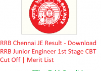 RRB Chennai JE Result 2019 - Download RRB Junior Engineer 1st Stage CBT Cut Off   Merit List