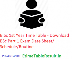 B.Sc 1st Year Time Table 2020 - Download BSc Part 1 Exam Date Sheet/Schedule/Routine