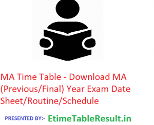 MA Time Table 2020 - Download MA (Previous/Final) Year Exam Date Sheet/Routine/Schedule