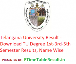 Telangana University Result 2019-20 - Download TU Degree 1st-3rd-5th Semester Exam Results, Name Wise