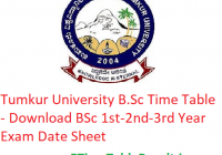 Tumkur University B.Sc Time Table 2020 - Download BSc 1st-2nd-3rd Year Exam Date Sheet