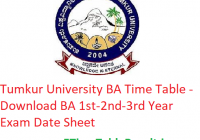 Tumkur University BA Time Table 2020 - Download BA 1st-2nd-3rd Year Exam Date Sheet