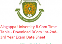Alagappa University B.Com Time Table 2020 - Download BCom 1st-2nd-3rd Year Exam Date Sheet