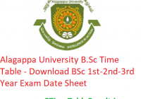 Alagappa University B.Sc Time Table 2020 - Download BSc 1st-2nd-3rd Year Exam Date Sheet