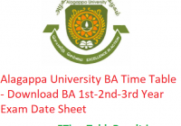 Alagappa University BA Time Table 2020 - Download BA 1st-2nd-3rd Year Exam Date Sheet