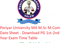 Periyar University MA M.Sc M.Com Date Sheet 2020 - Download PG 1st-2nd Year Exam Time Table