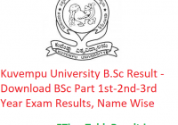 Kuvempu University B.Sc Result 2020 - Download BSc Part 1st-2nd-3rd Year Exam Results, Name Wise