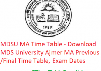 MDSU MA Time Table 2020 - Download MDS University Ajmer MA Previous/Final Time Table, Exam Dates
