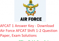 AFCAT 1 Answer Key 2020 - Download 22/23 February Shift 1-2 Question Paper, Exam Solutions