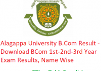 Alagappa University B.Com Result 2020 - Download BCom 1st-2nd-3rd Year Exam Results, Name Wise