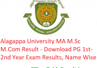 Alagappa University MA M.Sc M.Com Result 2020 - Download PG 1st-2nd Year Exam Results, Name Wise