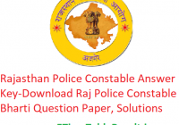 Rajasthan Police Constable Answer Key 2020 - Download Raj Police Constable Bharti Question Paper, Exam Solutions