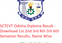 SCTEVT Odisha Diploma Result 2020 - Download 1st-3rd-5th Semester Exam Results, Name Wise