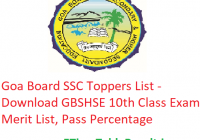 Goa Board SSC Toppers List 2020 - Download GBSHSE 10th Class Exam Merit List, Pass Percentage