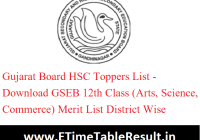 Gujarat Board HSC Toppers List 2020 - Download GSEB 12th Class (Arts, Science, Commerce) Merit List District Wise