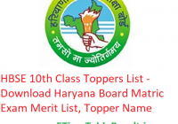 HBSE 10th Class Toppers List 2020 - Download Haryana Board Matric Exam Merit List, Topper Name with Marks