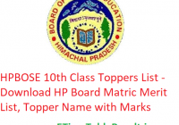 HPBOSE 10th Class Toppers List 2020 - Download HP Board Matric Exam Merit List, Topper Name with Marks