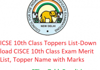 ICSE 10th Class Toppers List 2020 - Download CISCE 10th Class Exam Merit List, Topper Name with Marks