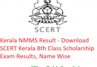 Kerala NMMS Result 2020 - Download SCERT Kerala 8th Class Scholarship Exam Results, Name Wise