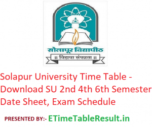 Solapur University Time Table 2020 - Download SU 2nd 4th 6th Semester Date Sheet, Exam Schedule