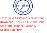 TNEB Field Assistant Recruitment 2020 - Download TANGEDCO 2900Field Assistant (Trainee) Vacancy Application Form