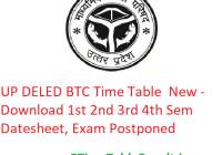 UP DELED BTC Time Table 2020 New - Download btcexam.in 1st 2nd 3rd 4th Sem Date Sheet, Exam Postponed