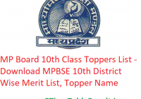 MP Board 10th Class Toppers List 2020 - Download MPBSE Class 10 Exam District Wise Merit List, Topper Name